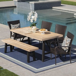 Philippa Outdoor 6 Seater Acacia Wood Dining Set with Wicker Stacking Chairs by Christopher Knight Home