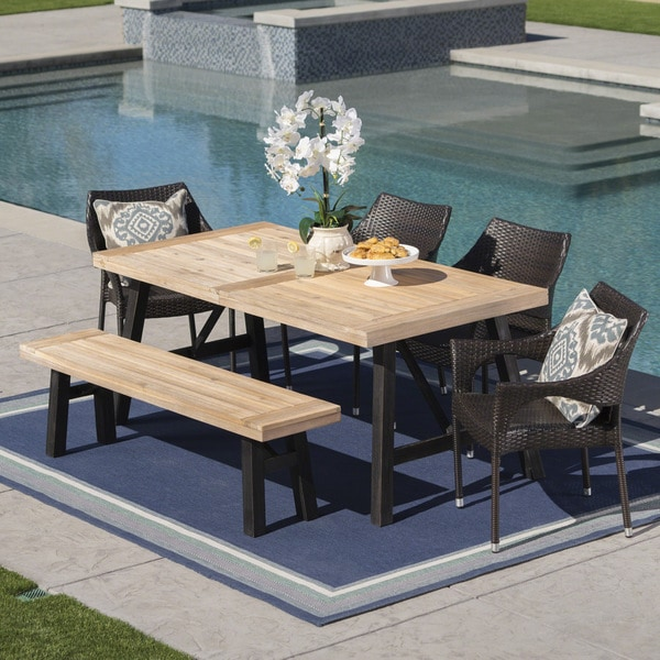 Hensley Outdoor 6-Piece Rectangle Wicker Wood Dining Set by Christopher Knight Home