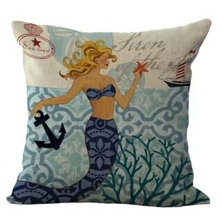 Cotton Linen Pillow Case Mermaid and Ship 18 x 18