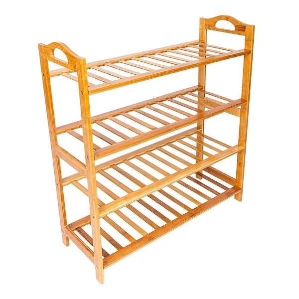Concise 12 Batten 4 Tiers Bamboo Shoe Rack Wood Color