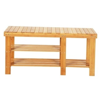 Strip Pattern Tiers Bamboo Stool Shoe Rack Boots Compartment Wood