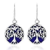 Tree of Life Stone Accents Sterling Silver Dangle Earrings (Thailand)