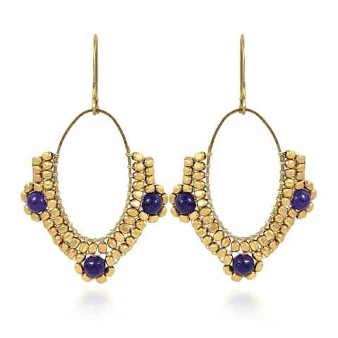 Handmade Oval Chandelier Beads and Lapis Brass Dangle Earrings (Thailand)