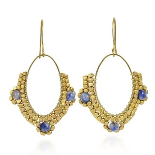 Oval Chandelier Beads and Lapis Brass Dangle Earrings (Thailand)
