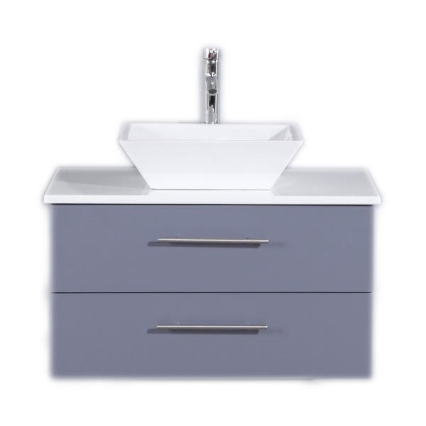 Shop Totti Wave 30 Inch Gray Modern Bathroom Vanity With White Glassos Countertop And Porcelain Vessel Sink Overstock 18912302,Color Code Personality Test Green