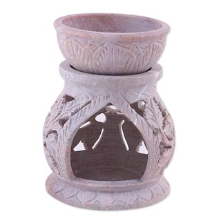 Soapstone Oil Warmer, 'Garden Of Leaves' (India)