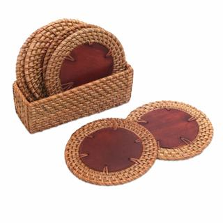Natural Fiber Coasters And Holder, 'Round Lombok' (Set Of 6) (Indonesia)