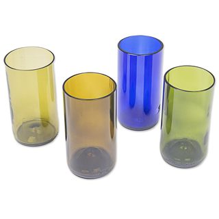 Recycled Glass Tumblers, 'Refreshing Rainbow' (Set Of 4) (Indonesia)