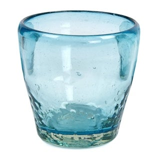 Handmade Blown Glass Juice Glasses Delicious Blue Set Of 6 (Mexico)
