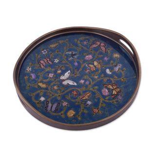Reverse Painted Glass Tray, 'Butterfly Waltz In Blue' (Peru)