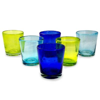 NOVICA Handmade Two By Two Blown Juice Glasses, Set Of 6 (Mexico)