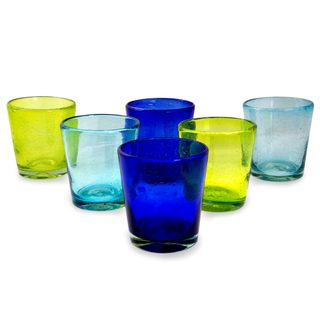 Blown Glass Juice Glasses, 'Two By Two' (Set Of 6) (Mexico)