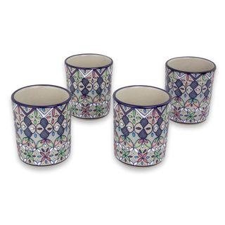 Ceramic Tumblers, 'Valenciana Violets' (Set Of 4) (Mexico)