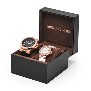 Michael Kors Dylan Black Dial Silicone Strap Unisex Watch Set MK3426