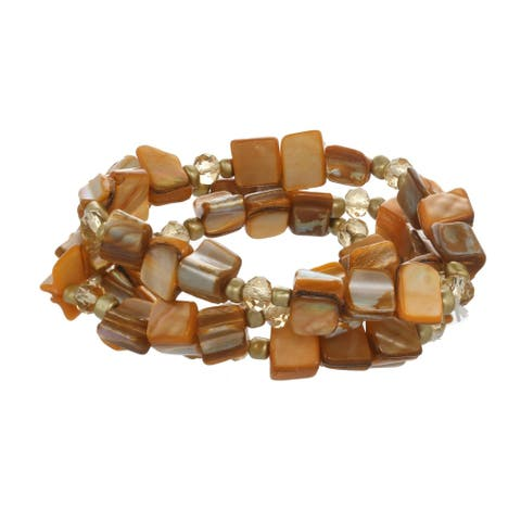 Brown Shell & Goldtone Bead Stretch Bracelet (Set of 3)