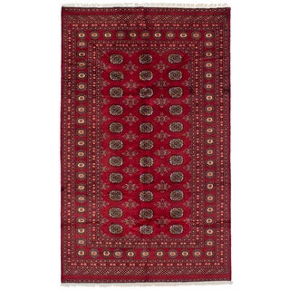 eCarpetGallery Hand-Knotted Finest Peshawar Bokhara Red Wool Rug (4'11 x 8'0)