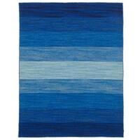 eCarpetGallery Flatweave Manhattan Blue Wool Kilim Rug - 4'9 x 6'4