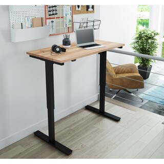 Bestar Electric Height Adjustable Table with Solid Wood Work Surface