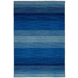 eCarpetGallery Flatweave Manhattan Blue Wool Kilim Rug - 4'11 x 7'10