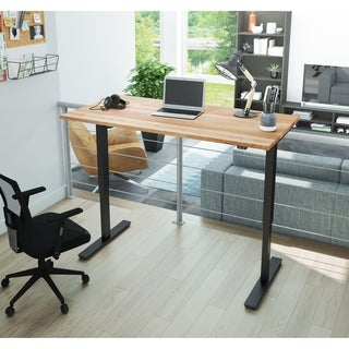 """Bestar 30"""" x 60"""" Electric Height Adjustable Table with Solid Wood Work Surface"""