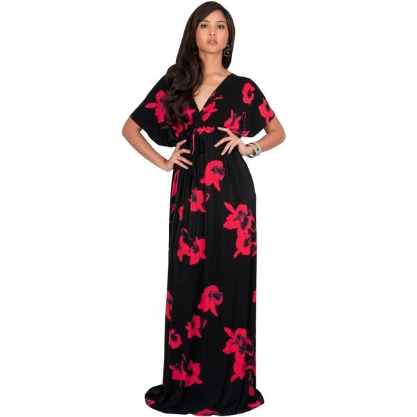 2c1dd075de3 KOH KOH Long Casual Summer Kimono Sleeve Floral Print Maxi Dress Gown