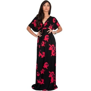 KOH KOH Womens Short Sleeves Floral Printed Bat Wing Deep V-Neck Maxi Dress (More options available)
