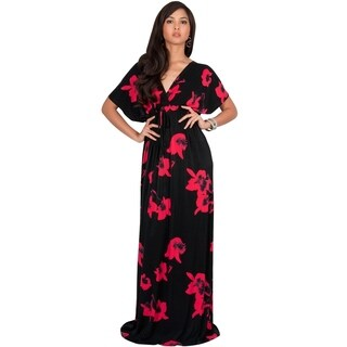 KOH KOH Womens Short Sleeves Floral Printed Bat Wing Deep V-Neck Maxi Dress
