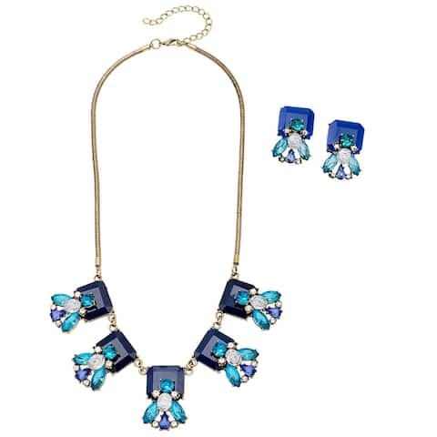 Floral Square Bib Necklace and Earrings Jewelry Set