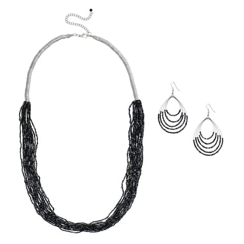 Antiqued Rhodium-plated Mutli-strand Seed Bead Necklace and Earrings Set - grey