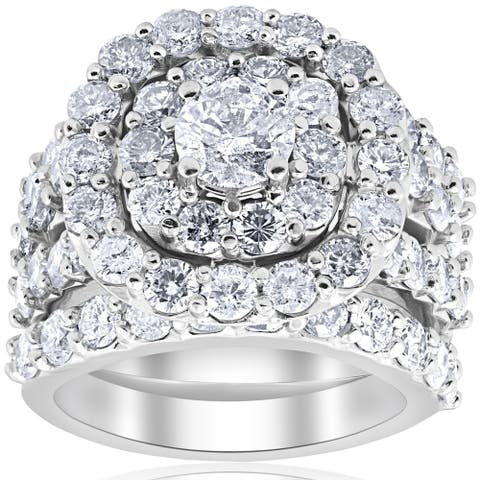 Bliss 10k White Gold 5ct TDW Diamond Double Halo 3-ring Bridal Set