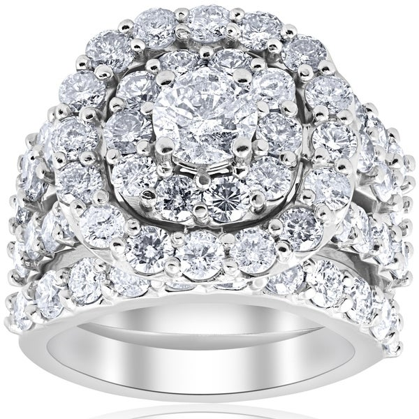 Attractive Bliss 10k White Gold 5 CTTDW Diamond Cushion Double Halo Trio Engagement  Wedding Ring Set