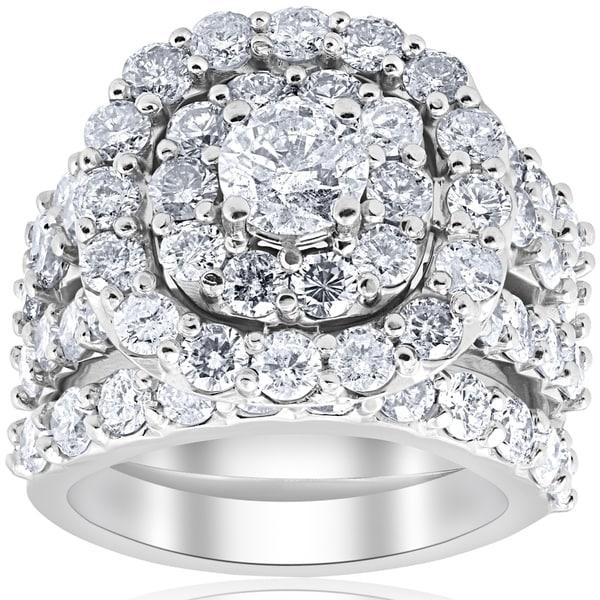 Bliss 10k White Gold 5 CTTDW Diamond Cushion Double Halo Trio Engagement Wedding Ring Set