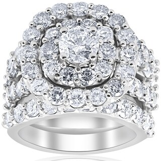 Bliss 10k White Gold 5 CTTDW Diamond Cushion Double Halo Trio Engagement Wedding Ring Set