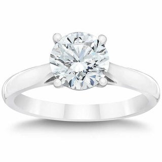 14k White Gold 2 ct Solitaire Round Cut Diamond Clarity Enhanced Engagement Ring (H-I/SI2-I1)