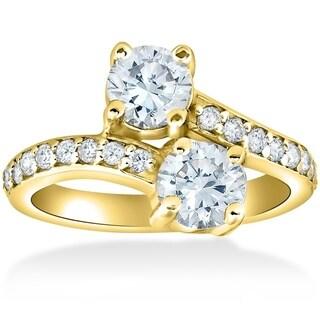 Bliss 14K Yellow Gold 2 ct TDW Diamond Two Stone Diamond Engagement Ring - White