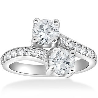 Bliss 14k White Gold 2 3/8 CTTW Diamond Clarity Enhanced Two Stone Engagement Ring
