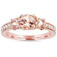 Bliss 14k Rose Gold 1 1/2 CTTW Morganite & Diamond 3-Stone Engagement Ring - Pink