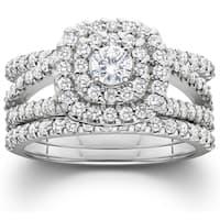 Bliss 10K White Gold 1 1/4 ct TDW Diamond Engagement Cushion Halo Wedding Ring Trio Set
