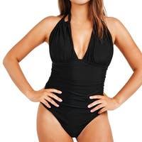 Cupshe Women's Solid Deep V neck Halter One Piece Bikini Swimsuit Beach Swimwear