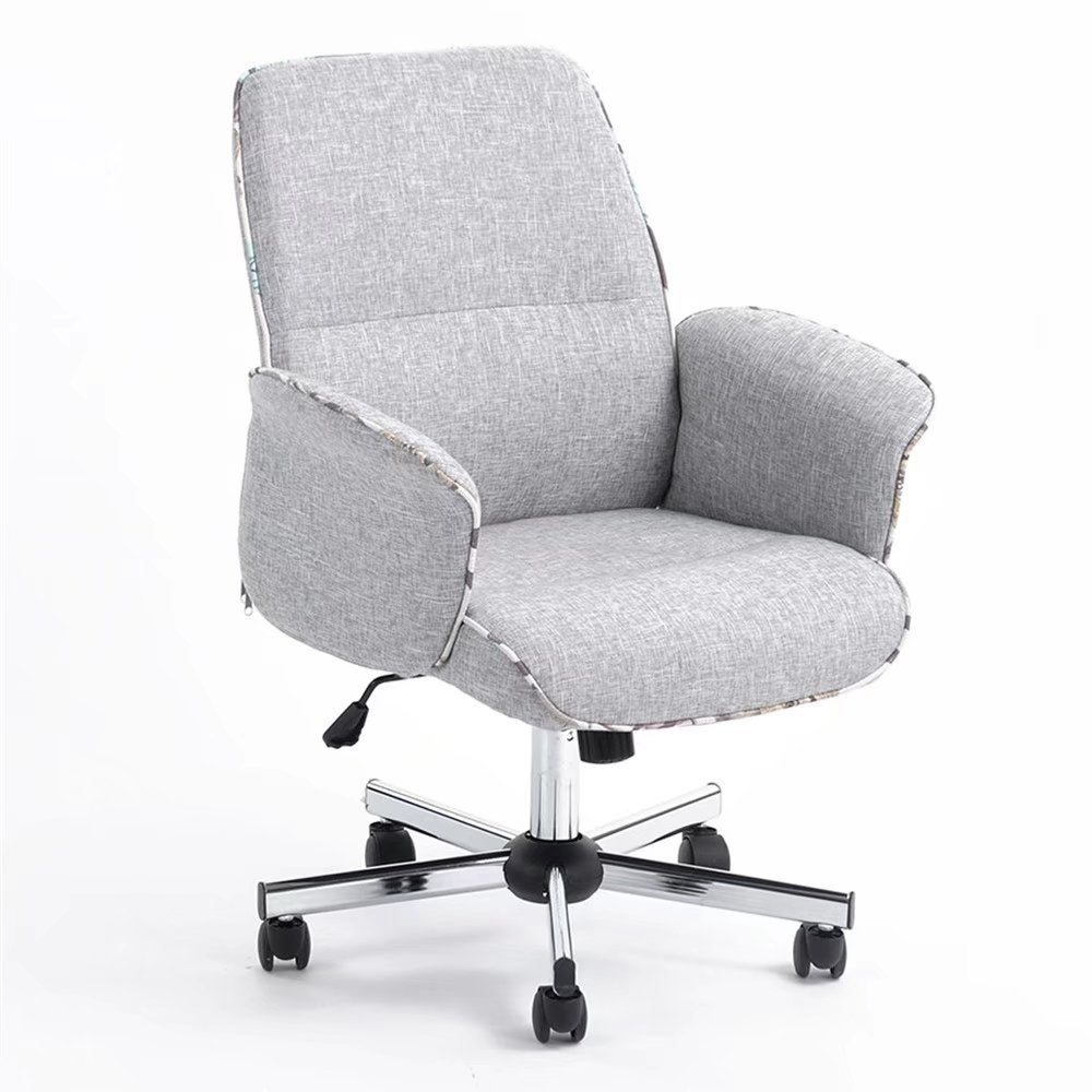 Middle Back Imitation Linen Office Chair Gray