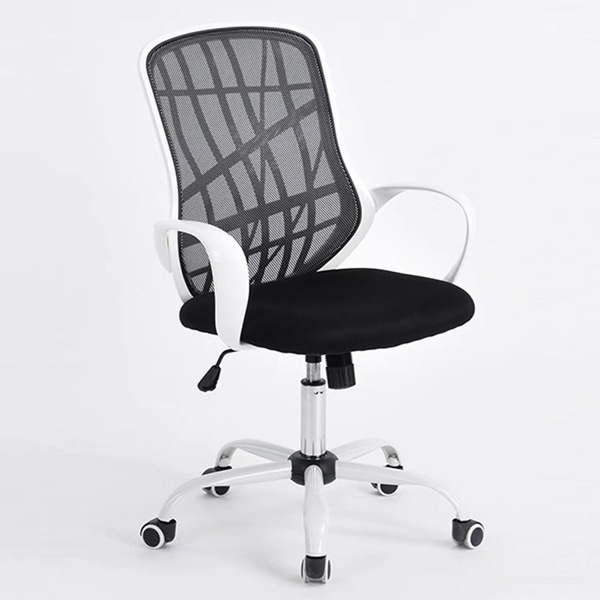 Middle Back Metal Five Stars Feet Grid Office Chair Black