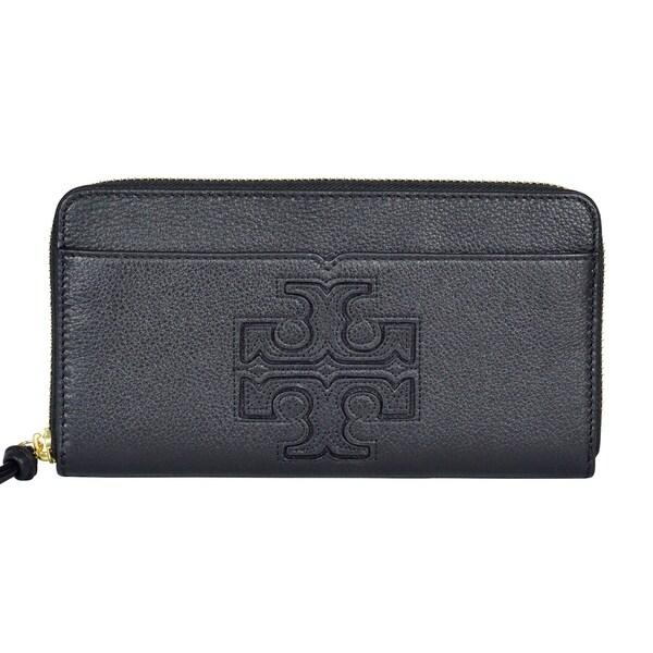 fb04b5b5f9f0 Shop Tory Burch Harper Zip Continental Black Leather Wallet Clutch ...