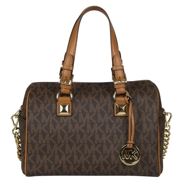 shop michael kors medium grayson brown acorn chain satchel handbag rh overstock com