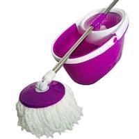 360° Rotary Head Slim Microfiber Mop with Oval Bucket Purple