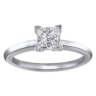 14KT White Gold 1CTTW Princess Cut Diamond Solitaire Engagement Ring