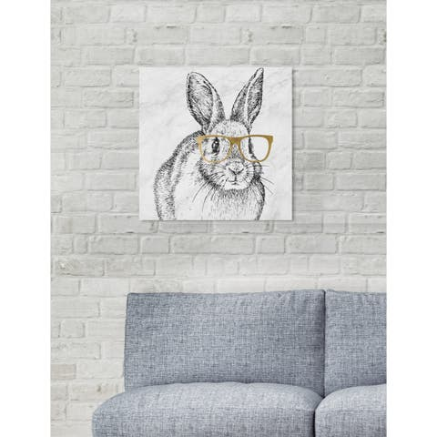 Oliver Gal 'Bunny and Gold Glasses' Animals Wall Art Canvas Prints - Black, Gold