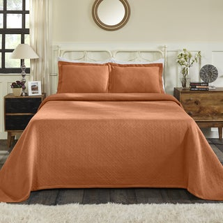 Superior All-Season 100% Premium Cotton Oversized Basket Weave Pattern Bedspread King Size in White (As Is)