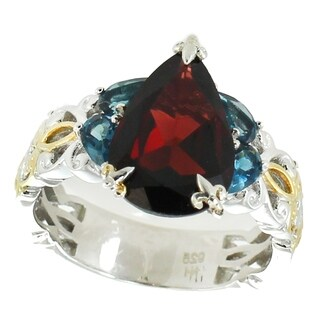 Michael Valitutti Palladium Silver Pear Shaped Garnet & London Blue Topaz Scrollwork Ring (2 options available)