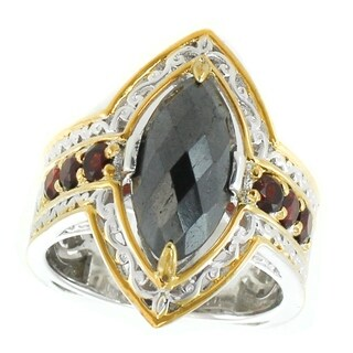 Michael Valitutti Palladium Silver Marquise Shaped Hematite & Mozambique Garnet Ring