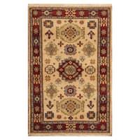 Handmade Herat Oriental Indo Hand-knotted Tribal Kazak Wool Rug - 4' x 6'